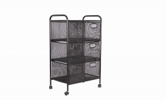 Six Drawers Mesh Rolling Cart
